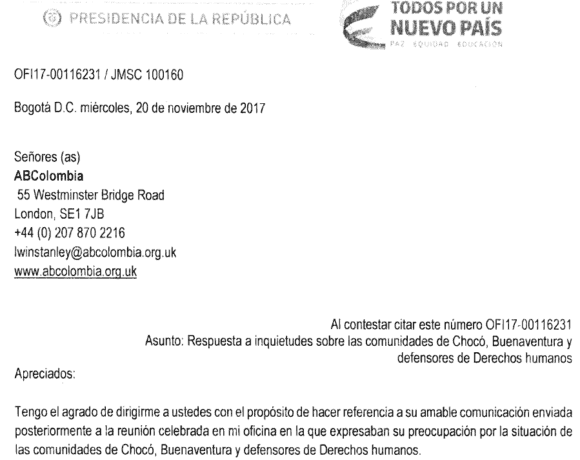 Correspondence with Paula Gaviria, Presidential Advisor for Human Rights