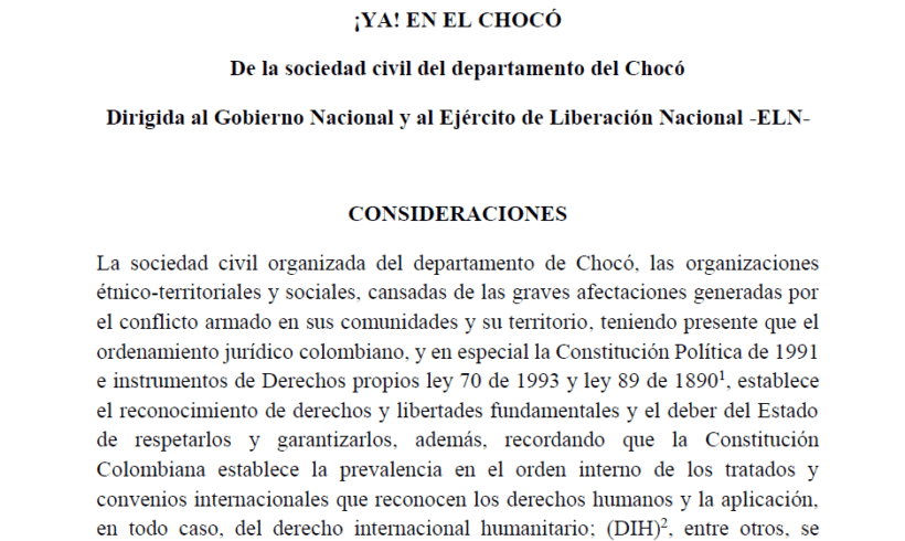 Civil Society activists call for Humanitarian Agreement in Chocó