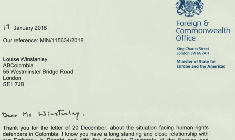 Violence against Human Rights Defenders: Correspondence with the FCO
