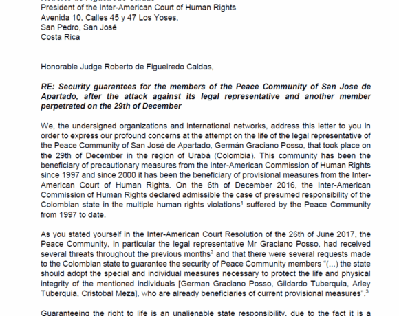 Letter to Inter-American Court of Human Rights: San José de Apartadó Peace Community