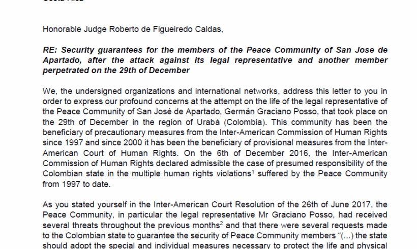 Letter to Inter-American Court of Human Rights: San José de Apartadó Peace Community