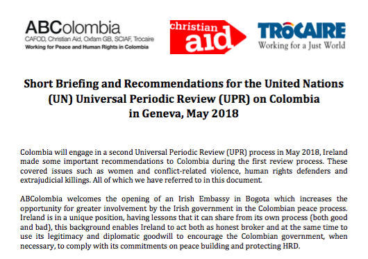 Universal Periodic Review on Colombia: Briefing and Recommendations for Ireland