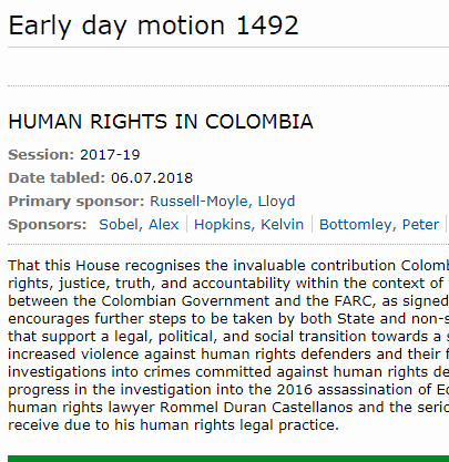 UK Parliament expresses concern and admiration for the work of  HRDs