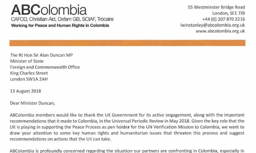 Correspondence with Sir Alan Duncan on Humanitarian Crisis in Chocó
