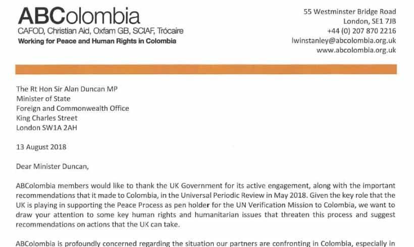Correspondence with Sir Alan Duncan on Humanitarian Crisis in Chocó