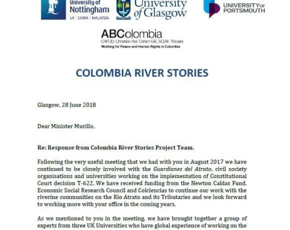 Colombia River Stories: Letter to Minister Murillo