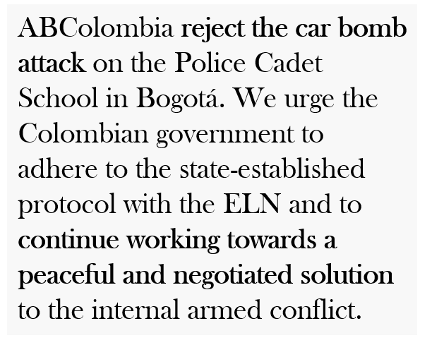 ABColombia urges Colombian Government to pursue peaceful and negotiated solution to internal armed conflict