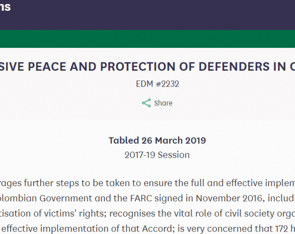 Inclusive Peace and Protection of Human Rights Defenders in Colombia: Early Day Motion tabled in UK Parliament