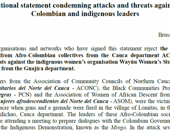 International organisations reject violent attacks and threats against Afro-Colombian and Indigenous leaders