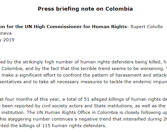UN High Commissioner for Human Rights: Briefing note on Colombia
