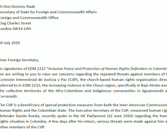 Concerns about death threats against Colombia Human Rights Defenders: MPs send letter to UK Foreign Secretary
