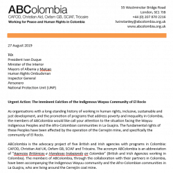 Letter of Concern to Colombian Government: Forced Eviction of El Rocío
