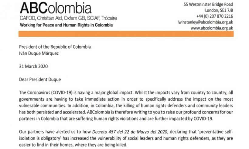 Letter to President Ivan Duque: COVID-19 and the Humanitarian and Human Rights Crisis