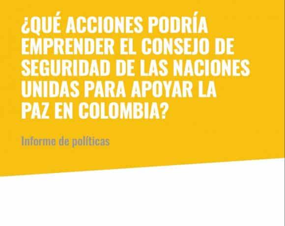 ?Que acciones podria emprender el Consejo de Seguridad para apoyar la paz en Colombia?